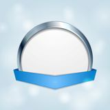 Blank circle frame with blue ribbon Royalty Free Stock Image