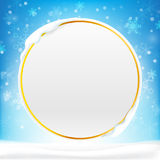 Blank circle frame with copy space and winter snow flake falling Stock Photography