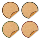 Blank Circle Labels from brown Recycle paper Royalty Free Stock Photos