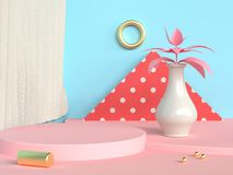blank circle podium abstract scene blue wall pink floor tree pot/jar 3d render royalty free illustration