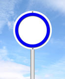 Blank circle sign with blue sky Royalty Free Stock Photos
