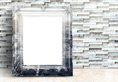 Blank city picture overlay on Vintage frame on marble floor and Royalty Free Stock Image