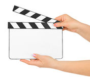 Blank clapboard in hands. Isolated on white background Stock Images