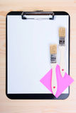 Blank Clipboard Brushes Stock Photos