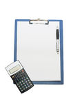Blank clipboard And the calculator isolated Royalty Free Stock Photo