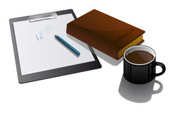 Blank clipboard with cup and notebook. Royalty Free Stock Images