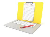 Blank clipboard lined paper on laptop. Side view. 3D render Stock Photography