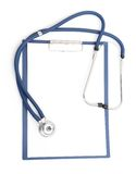 Blank clipboard with modern stethoscope Royalty Free Stock Images