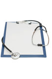 Blank clipboard with modern stethoscope isolated Stock Images