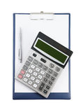 Blank clipboard with pen and calculator Royalty Free Stock Photography