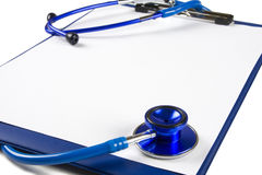 Blank clipboard with stethoscope Royalty Free Stock Images