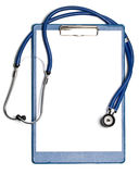 Blank clipboard with stethoscope royalty free stock image