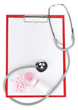 Blank clipboard with stethoscope Stock Photography