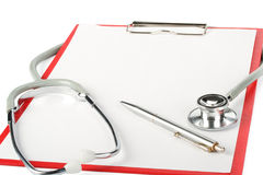 Blank clipboard with stethoscope Royalty Free Stock Photo