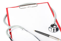 Blank clipboard with stethoscope Stock Images