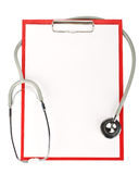 Blank clipboard with stethoscope Stock Image