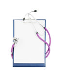 Blank clipboard with stethoscope isolated Royalty Free Stock Photos