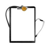 Blank clipboard with stethoscope isolated on white Stock Images