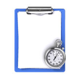 Blank clipboard with stopwatch Stock Images