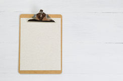 Blank clipboard on white desktop Royalty Free Stock Image