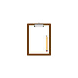 Blank clipboard with white paper and pencil  illustration Royalty Free Stock Photos