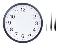 Blank clock face. With hour, minute and second hands isolated on white background. Just set your own time