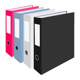 Blank closed office binders set  on white background. Vector illustration. Stock Image