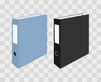 Blank closed office binders on transparent checkered background. Vector illustration. Royalty Free Stock Photo