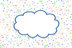 Blank cloud with blue rim on confetti background Royalty Free Stock Photography
