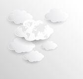 Blank Cloud computing with earth map Stock Photos
