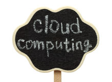 Blank cloud shape blackboard with cloud computing words. On white background stock photo