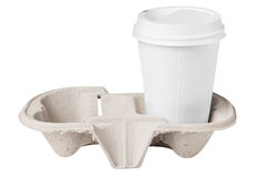 Blank coffee cup in tray. Blank coffee cup in paper tray royalty free stock photo