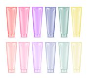 Blank color plastic tube for cosmetic, lotion, tooth paste and c vector illustration