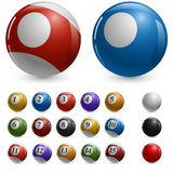 Blank color pool balls template. With samples Stock Photos