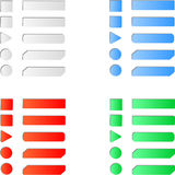 Blank colored internet web button set. Round, square and rectangle shapes. White background Royalty Free Stock Photography