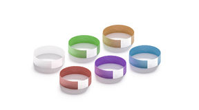 Blank colored paper wristbands mockups Stock Photo