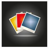 Blank colored photo frames laid out in a fan Stock Image