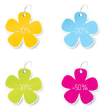 Blank colored sales tags Stock Image