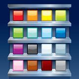 Blank Colorful Apps Icons on Metal Shelfs. Vector Royalty Free Stock Images