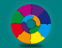 Blank colorful Info graphic wheel and arrows. A blank wheel with arrows for info graphic presentations and charts Stock Photo