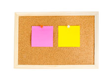 Blank colorful notes pinned on cork wood notice board isolate Royalty Free Stock Photo
