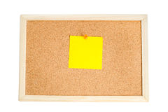 Blank colorful notes pinned on cork wood notice board isolate on Stock Image