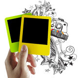Blank colorful photo frame and doodle background Royalty Free Stock Photo