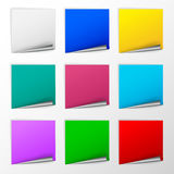 Blank colorful square stickers with curl sets Stock Images