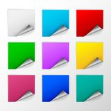 Blank colorful square stickers with curl sets Stock Photography