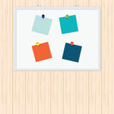 Blank Colorful Sticky Notes with pin on wood background. Stock Images