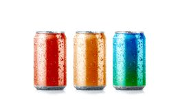 Blank colors aluminium soda can mockup with drops royalty free illustration