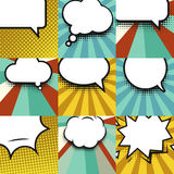 Blank comic balloon set template. Clear comics colorful speech bubbles halftone dot background style pop art collection Stock Photography