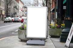 Blank commercial sidewalk sign Stock Photos
