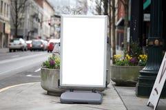 Blank commercial sidewalk sign stock photos